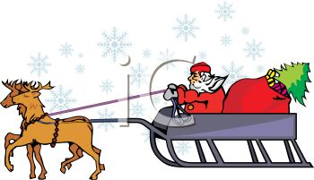 350x201 Picture Of Santa In A Sled With A Bag Of Toys And A Christmas Tree