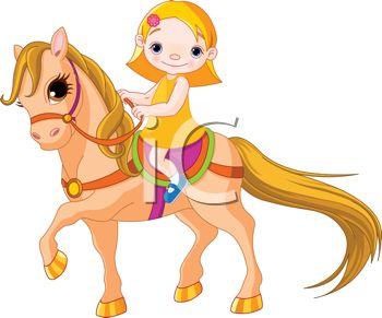 350x291 Little Girl Riding A Pony