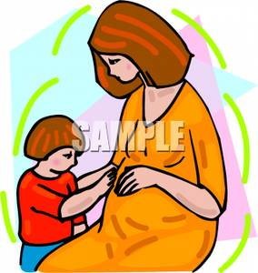 284x300 Clip Art Image A Child Touching His Pregnant Mother's Belly