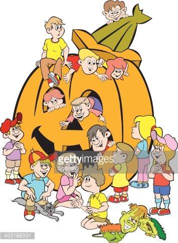 355x483 Kids And Giant Pumpkin Stock Vectors