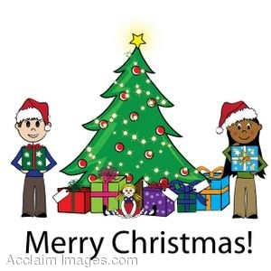 300x300 Clip Art Of A Christmas Tree Scene