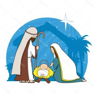300x300 Photostock Vector Cartoon Nativity Scene With Shooting Star