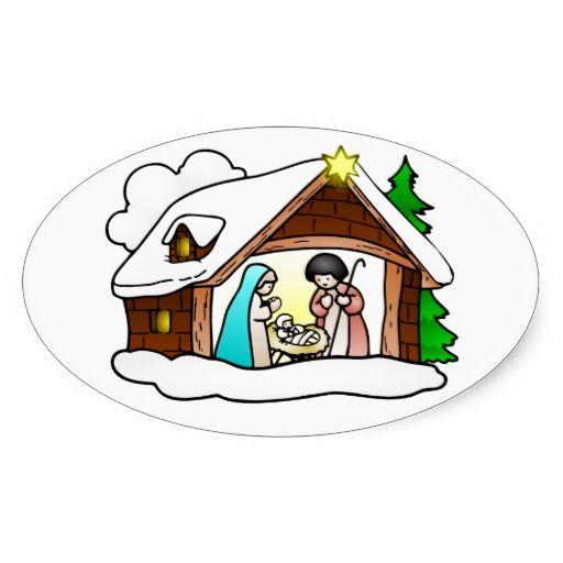 512x512 Traditional Christmas Nativity Scene Oval Sticker Religious Clip