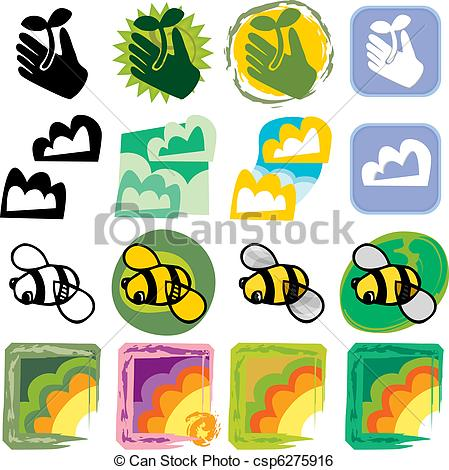 449x470 Various Nature Icons. Four Nature Related Drawings For Clip Art