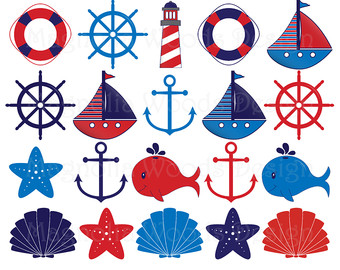 340x270 Nautical Clip Art Pink And Navy Blue Nautical Clip Art