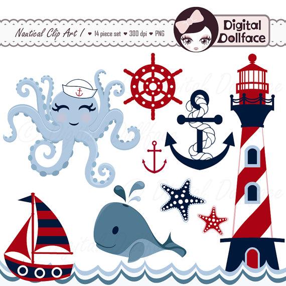 570x570 Nautical Clipart, Summer, Anchor, Whale, Sailboat, Octopus, Waves