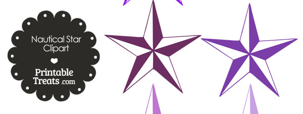 610x229 Nautical Star Clipart In Shades Of Purple Printable