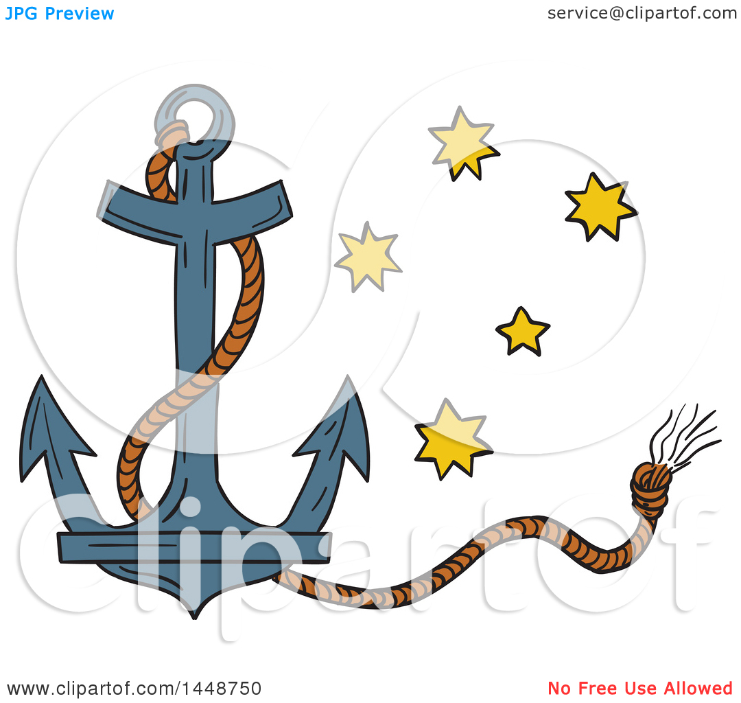 1080x1024 Clipart Of A Sketched Drawing Styled Nautical Anchor And Rope