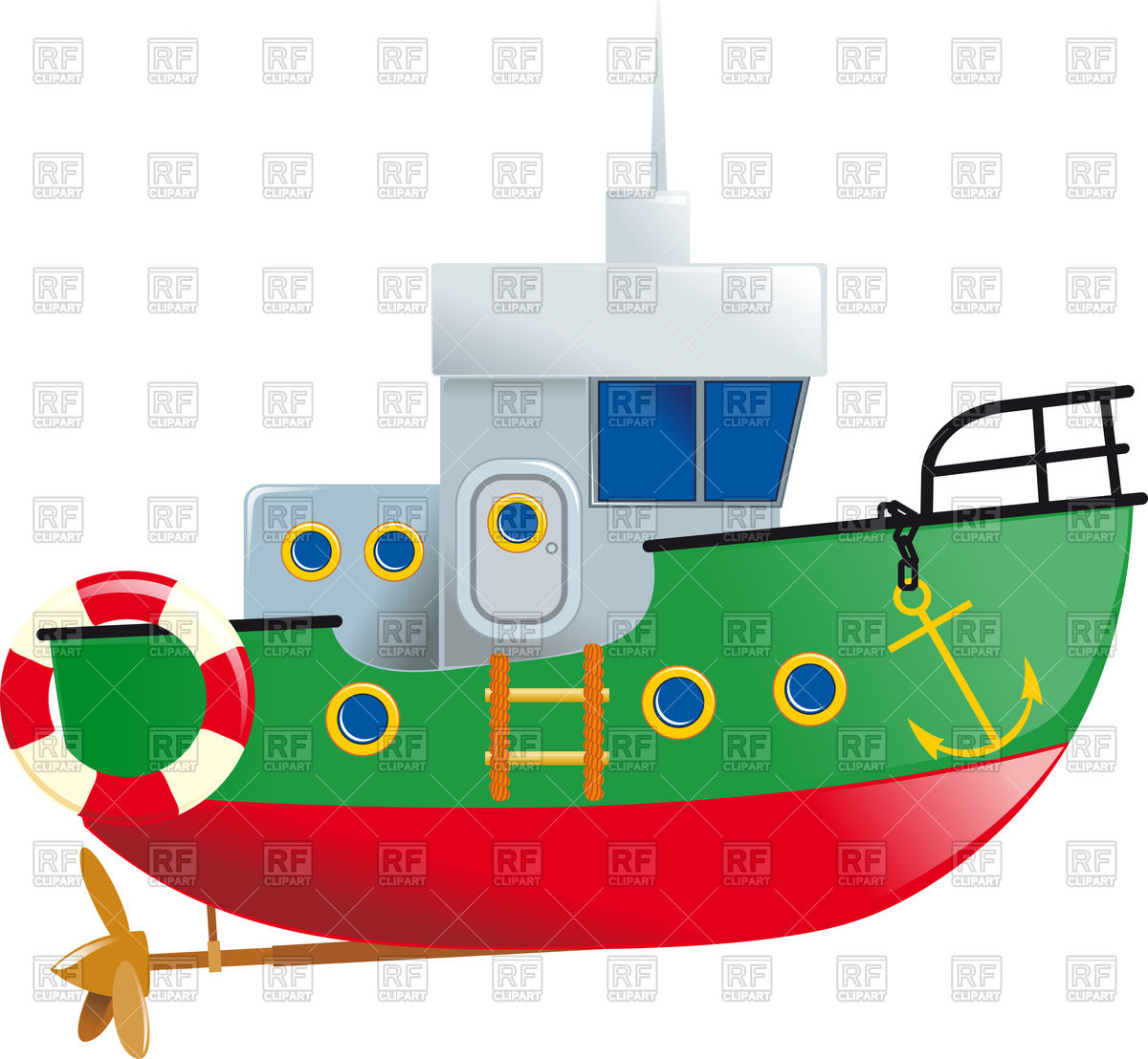 1200x1108 Cartoon Small Boat With Lifeline And Screw Royalty Free Vector