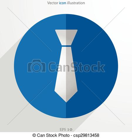 450x470 Vector Necktie Web Flat Icon. Isolated On White. Clipart Vector