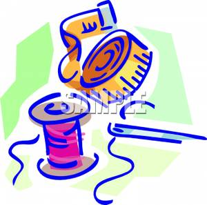 300x297 A Spool Of Thread With A Needle And Measuring Tape Clipart Image