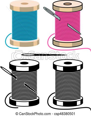 368x470 Vector Spool Icons With Sewing Needle And Thread Isolated