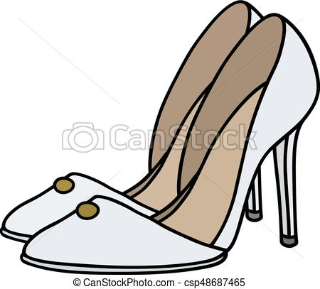 450x407 White Needle Heel Shoes. Hand Drawing Of White High Heel Clip