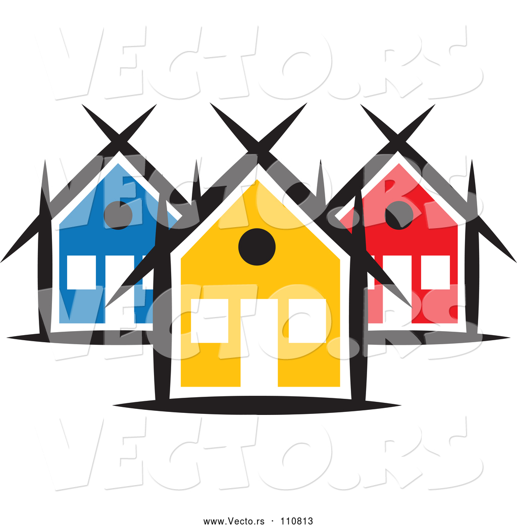 1024x1044 Vector Of A Small Neighborhood Of Colorful Houses By Colormagic
