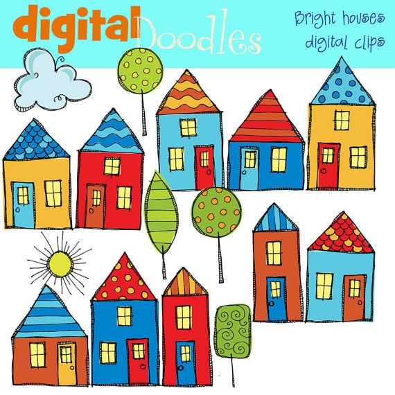 570x570 Bright Neighborhood Digital Clipart House