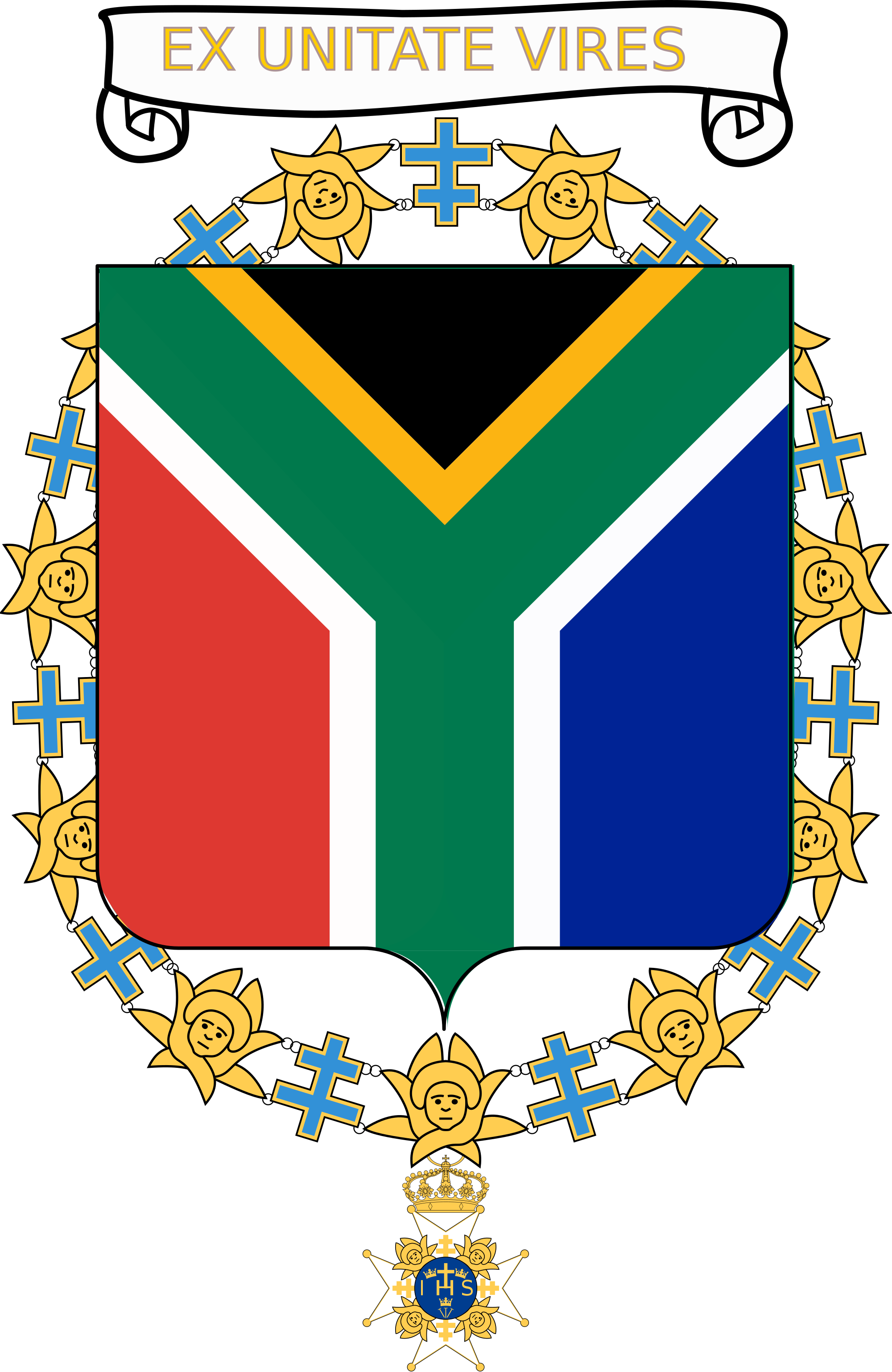 2000x3076 Filecoat Of Arms Of Nelson Mandela (Order Of Seraphim).svg