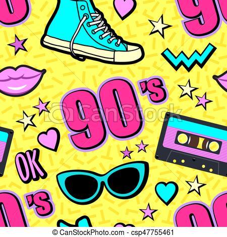 450x470 Vector Neon Pop Background 80s, 90s Clip Art Vector