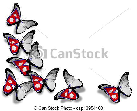 450x366 Nepal Flag Butterflies, Isolated On White Background Stock