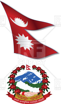 237x400 Nepal Textured Wavy Flag And Coat Of Arms Royalty Free Vector Clip