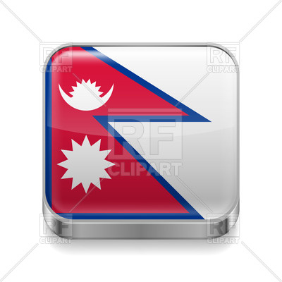 400x400 Square Metal Icon With Flag Of Nepal Royalty Free Vector Clip Art