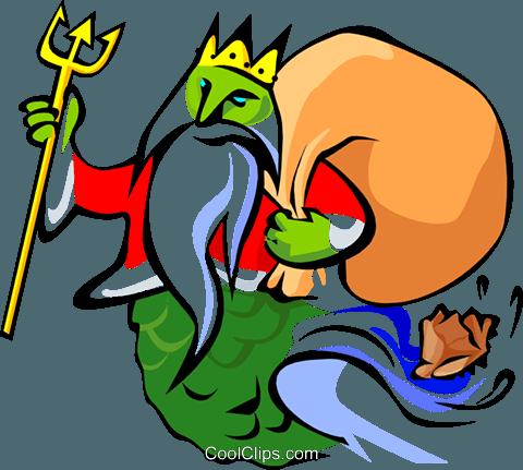 480x431 Gift Bearing King Neptune Royalty Free Vector Clip Art