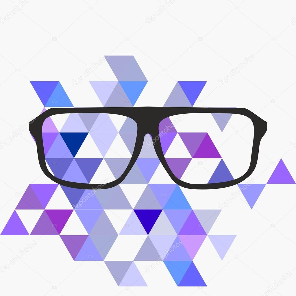1024x1024 Nerd Glasses On Grey Background With Triangle Flat Surface Mosaic