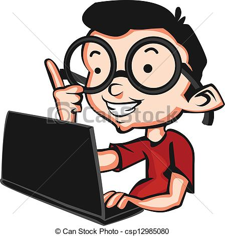 449x470 Nerd With A Laptop Vector