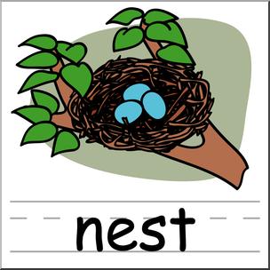 304x304 Clip Art Basic Words Nest Color Labeled I Abcteach
