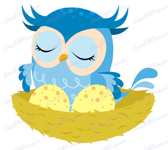 570x507 Digital Download Clipart Blue Owl Sitting In Nest With Eggs Jpeg