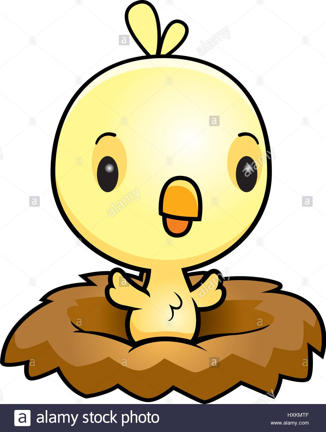 1048x1390 A Cartoon Illustration Of A Baby Chick In A Nest Stock Vector Art