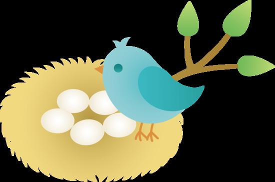 550x364 Animated Bird Clip Art Blue Bird With Nest Of Eggs
