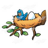 160x160 Abeka Clip Art Happy Baby Bird In A Nest With An Egg