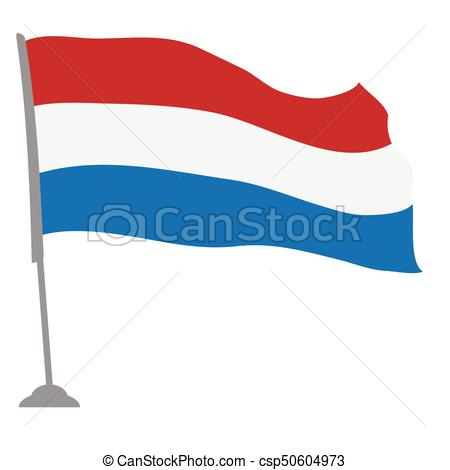 450x470 Isolated Flag Of The Netherlands On A Pole, Vector Vectors