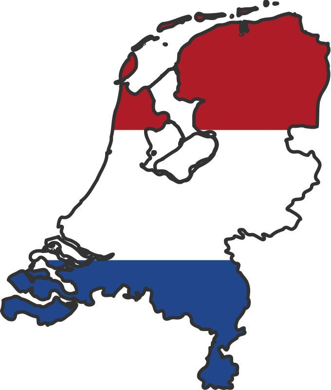 680x800 Netherlands Flag Map Red, White And Blue Bleu, Blanc Et Rouge