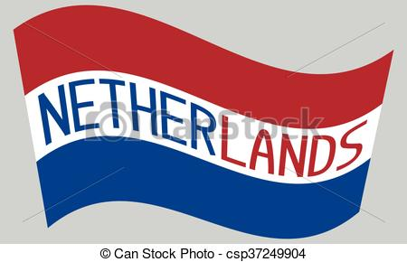 450x290 Netherlands Flag Waving With Word Netherlands On Gray Vector