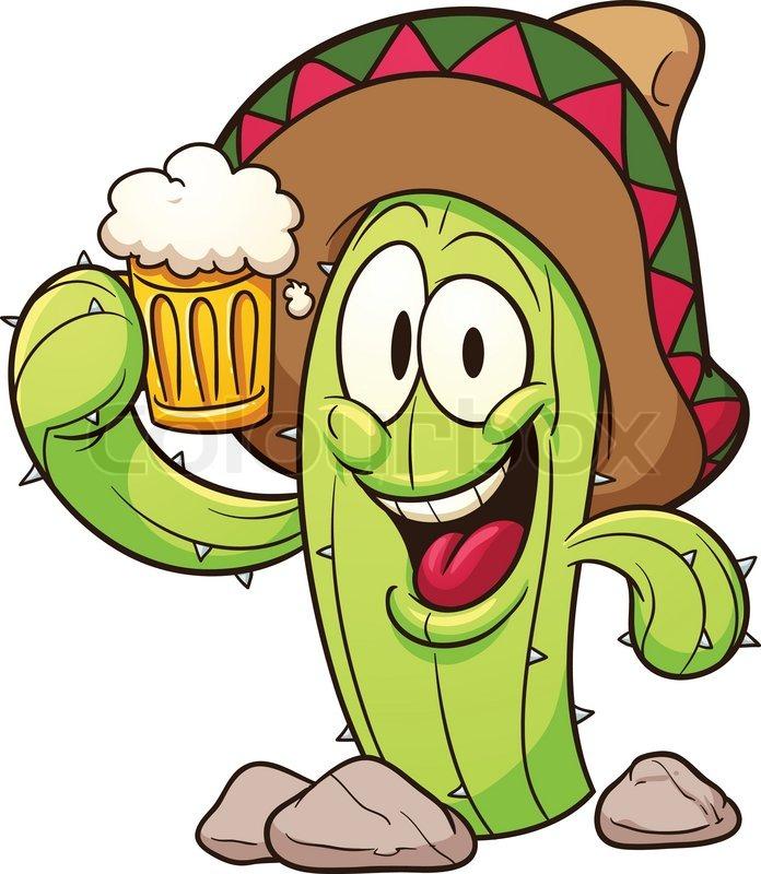 696x800 Cartoon Mexican Cactus Holding A Beer. Vector Clip Art