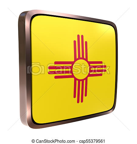 450x470 New Mexico Flag Icon. 3d Rendering Of A New Mexico State Stock