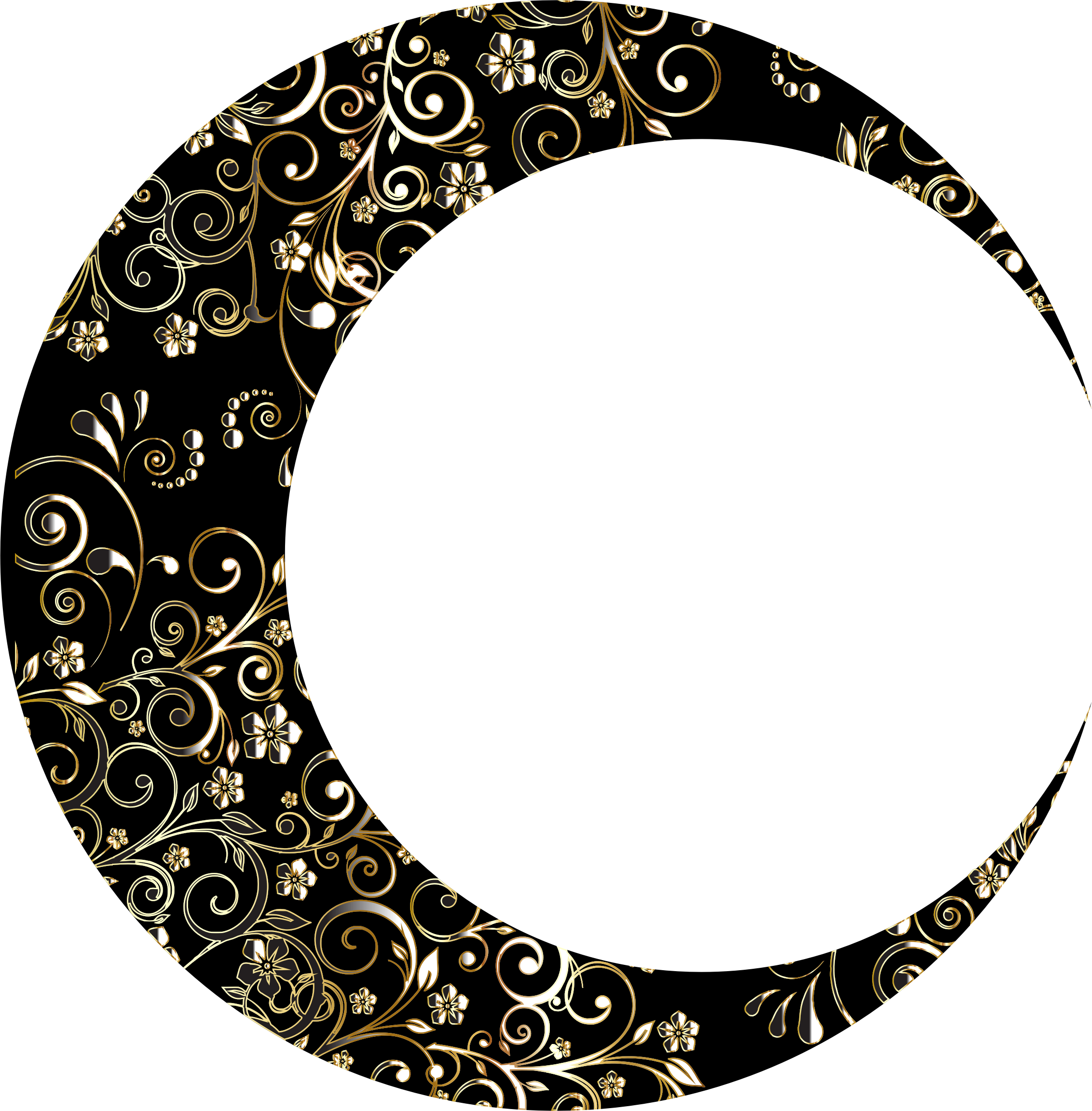 2264x2304 Gold Floral Crescent Moon Mark Ii 12 Icons Png