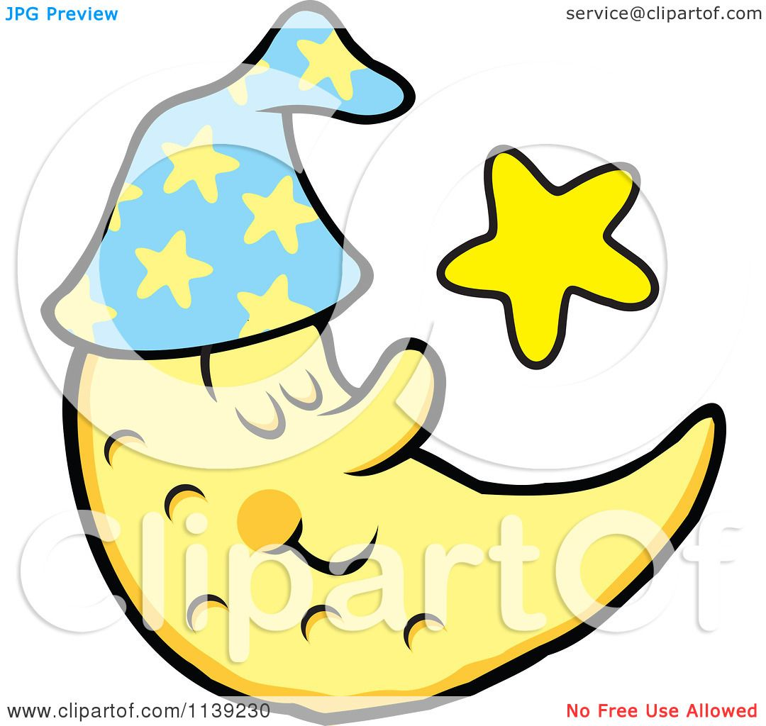 1080x1024 Cartoon Of A Content Sleeping Crescent Moon And Star