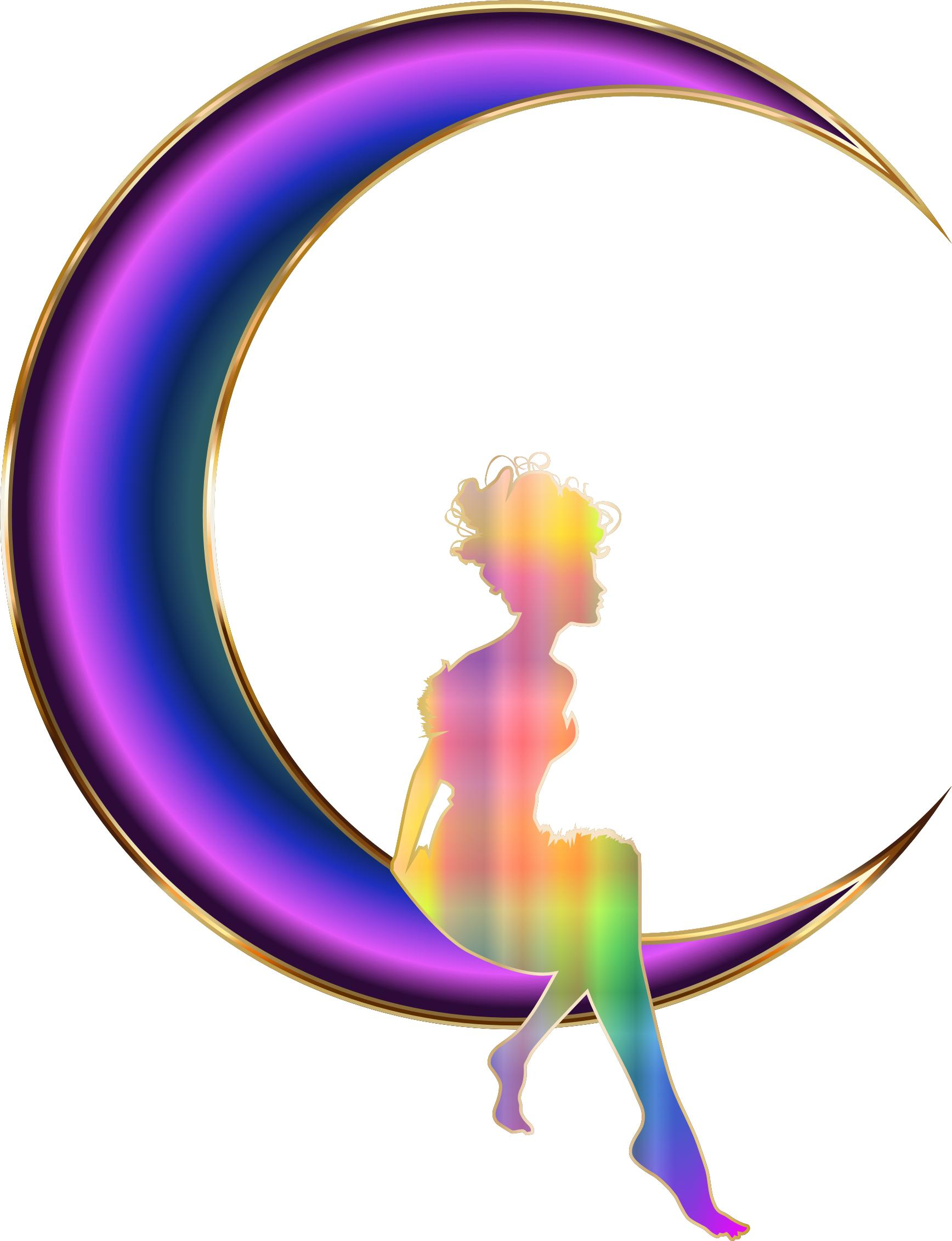1736x2262 Chromatic Fairy Sitting On Crescent Moon No Background Icons Png