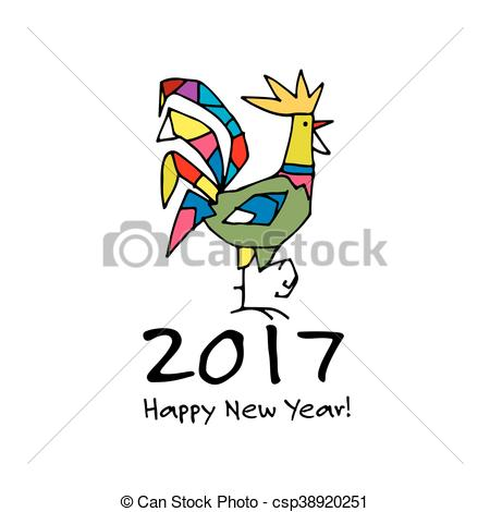 450x470 Funny Rooster, Symbol Of 2017 New Year. Vector Illustration