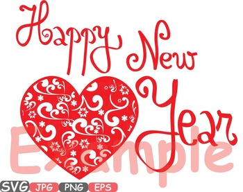 350x277 Heart Happy New Year Svg Winter Holiday Clip Art Quotes Word Art