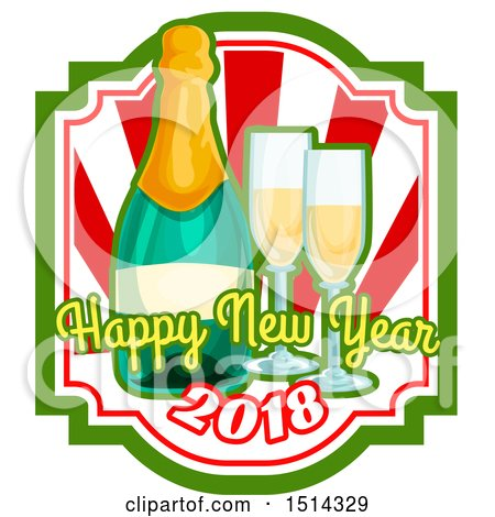 450x470 Clipart A Happy New Year 2018 Greeting With A Bottle