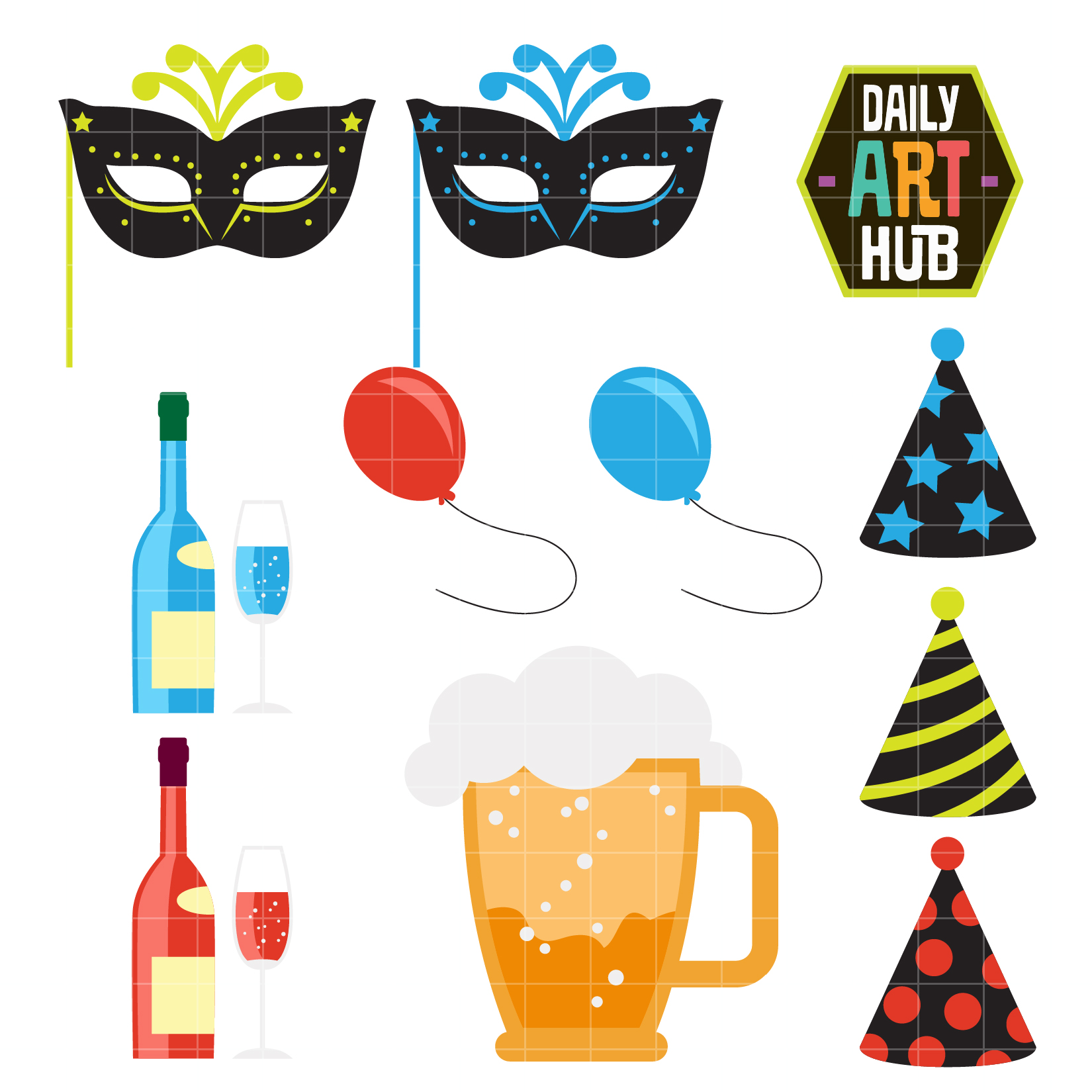 1650x1650 New Year's Eve Clip Art Set Daily Art Hub Free Clip Art Everyday