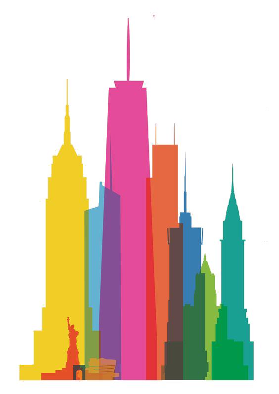 564x797 New York City Skyline Watercolor Painting Canvas Print Clip Art