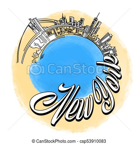 450x470 New York City Travel Logo. Nyc Skyline Vector Sketch. Vector