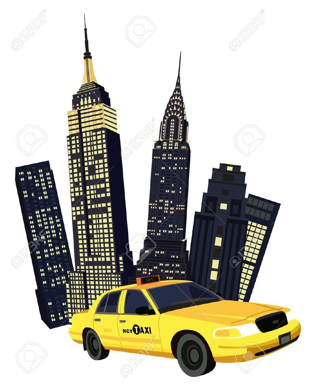 1068x1300 Taxi And New York Skyline