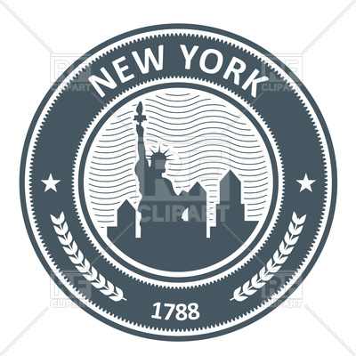 400x400 New York Stamp With Statue Of Liberty Royalty Free Vector Clip Art