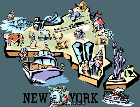 480x369 New York Vignette Map Royalty Free Vector Clip Art Illustration
