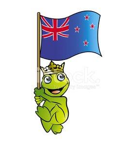 281x300 Happy Frog Holding Newzealand Flag Premium Clipart